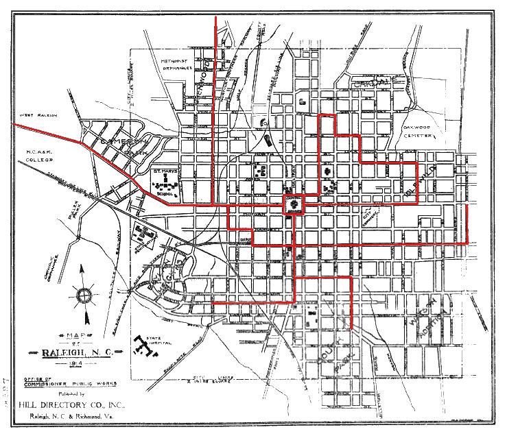 Raleigh Street Car Map, 1914 - Legeros Fire Blog Archives 2006-2015