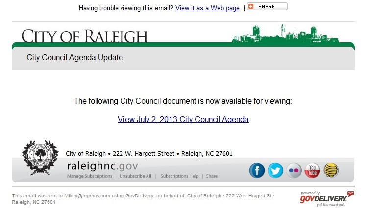 Subscribing to City of Raleigh News - Legeros Fire Blog Archives
